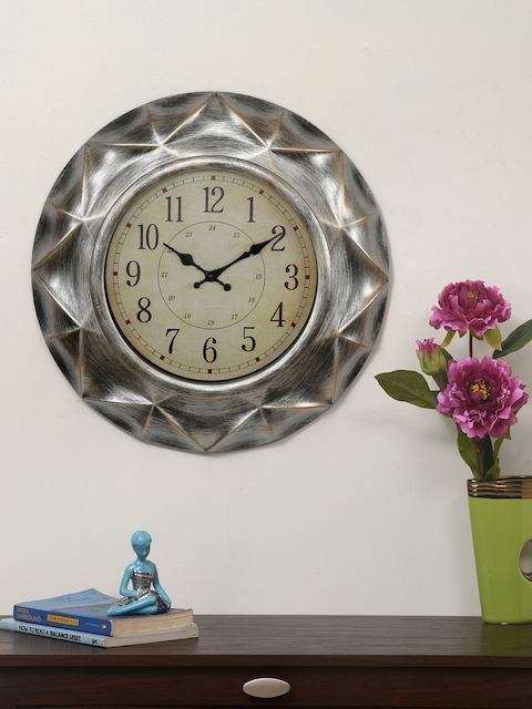 Athome by Nilkamal Beige & Silver-Toned 51 cm Textured Wall Clock