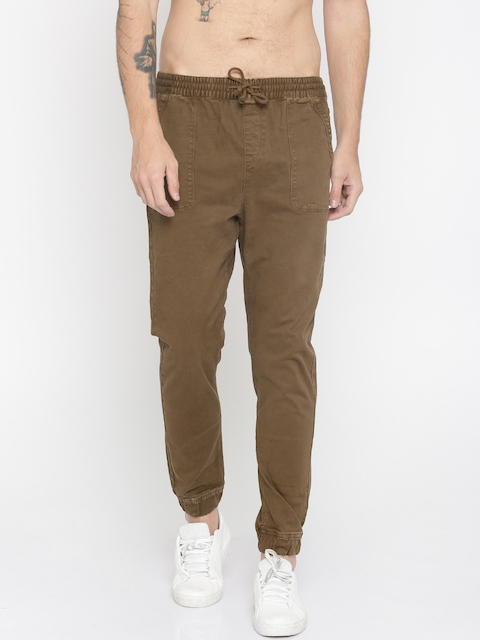 Roadster Men Brown Tapered Fit Solid Joggers