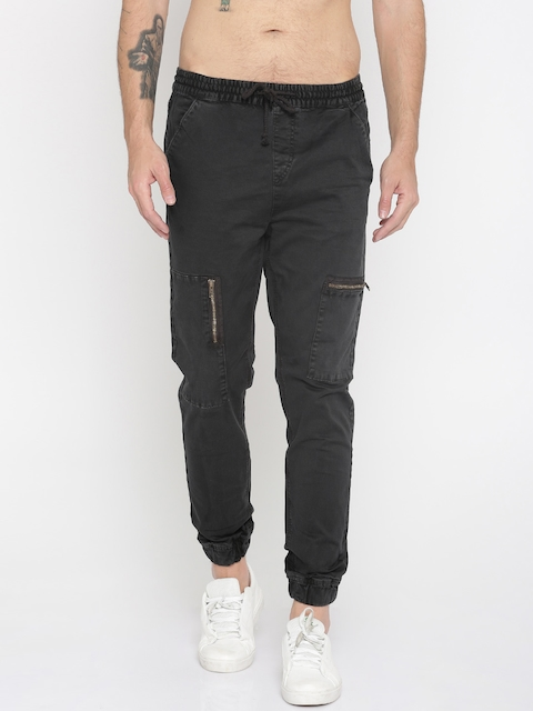 Roadster Men Black Tapered Fit Solid Joggers