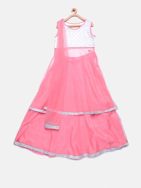 612 league Girls Pink & Off-White Net Lehenga Choli with Dupatta  available at myntra for Rs.1459