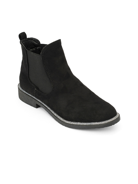 Truffle Collection Women Black Solid Synthetic Mid-Top Flat Boots
