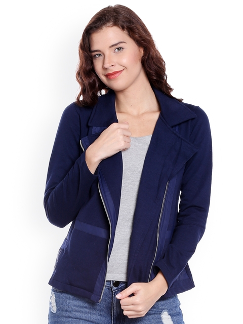 Campus Sutra Women Blue Solid Quilted Jacket