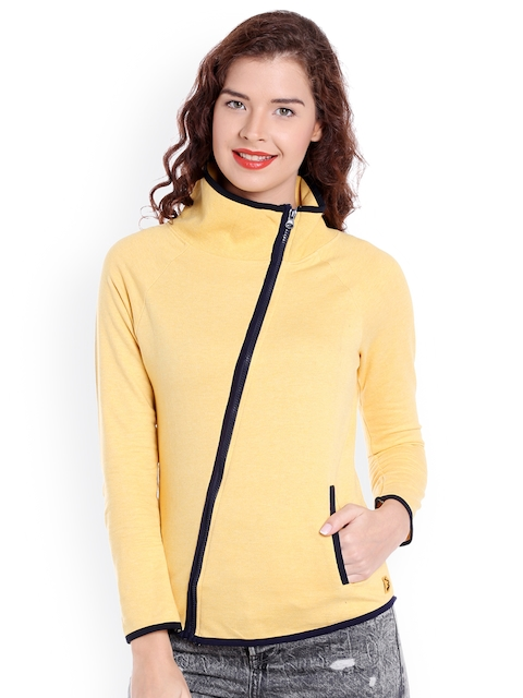 Campus Sutra Women Yellow Solid Quilted Jacket  available at myntra for Rs.879