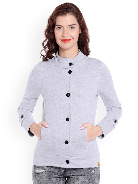 Campus Sutra Women Grey Solid Quilted Jacket