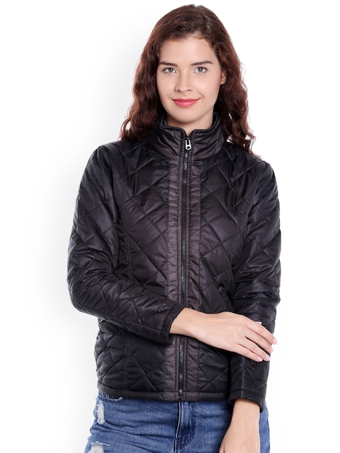 Campus Sutra Women Black Solid Quilted Jacket