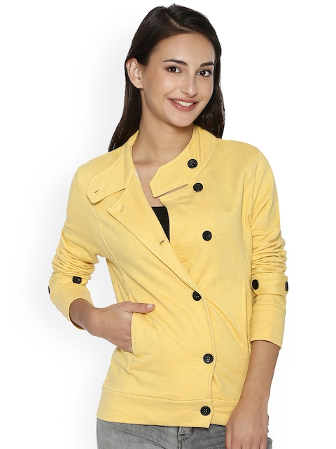 Campus Sutra Women Yellow Solid Quilted Jacket  available at myntra for Rs.839