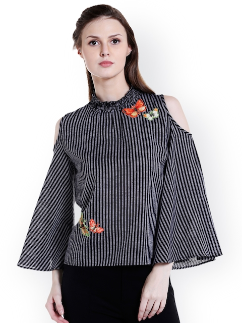 109F Women Black Striped Top