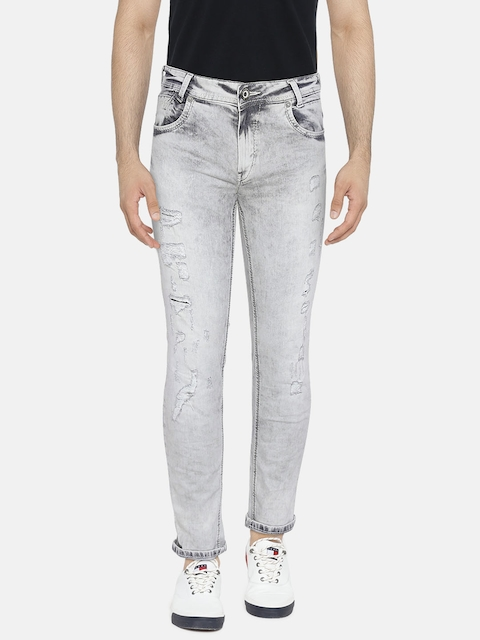 Mufti Men Grey Skinny Fit Mid-Rise Mildly Distressed Stretchable Jeans