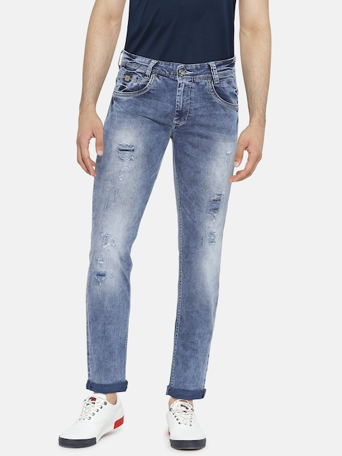 Mufti Men Blue Skinny Fit Mid-Rise Low Distress Stretchable Jeans