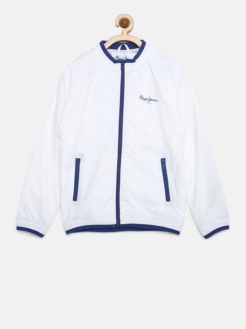 Pepe Jeans Boys White Solid Bomber Jacket