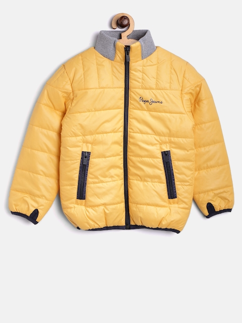 Pepe Jeans Boys Yellow Solid Puffer Jacket