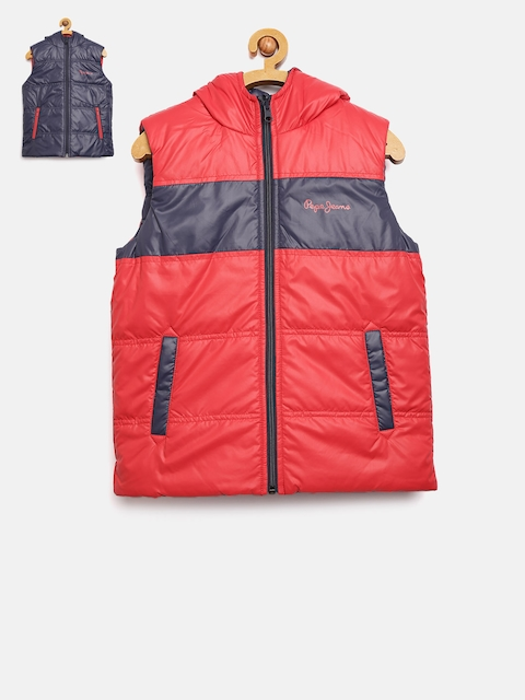 Pepe Jeans Boys Red & Navy Reversible Sleeveless Padded Jacket