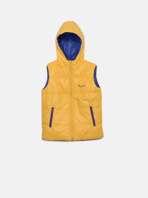 Pepe Jeans Boys Yellow & Blue Solid Bomber Jacket