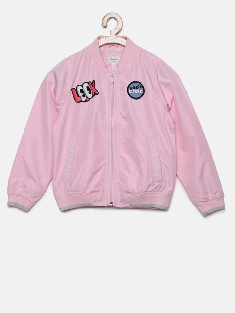 Pepe Jeans Boys Pink Solid Bomber