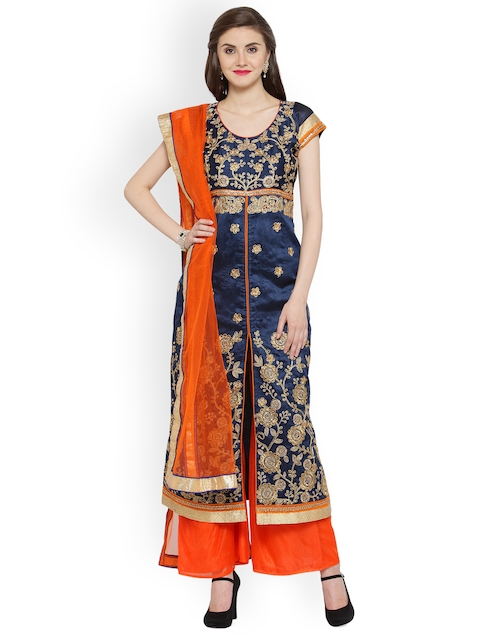 Chhabra 555 Blue & Orange Art Silk Semi-Stitched Dress Material