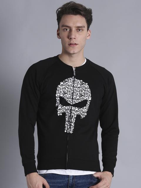 Kook N Keech Marvel Men Black & White Printed Sweatshirt