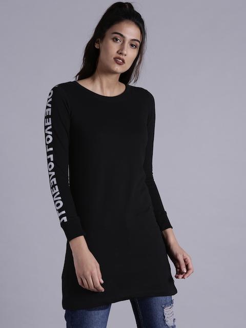 Kook N Keech Women Black Longline Sweatshirt