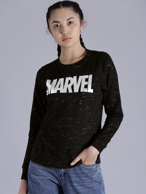 Kook N Keech Marvel Women Black Printed Sweatshirt