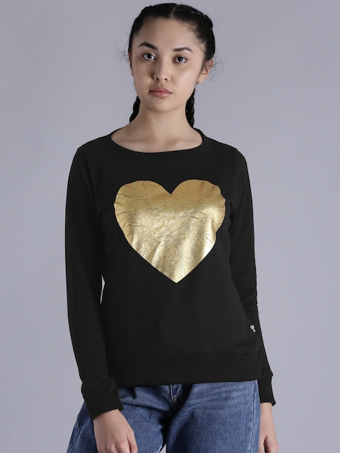 Kook N Keech Women Black Printed Sweatshirt