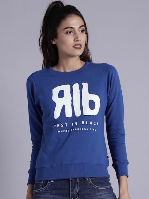 Kook N Keech Women Blue Printed Sweatshirt