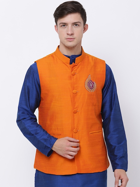 Svanik Orange Nehru Jacket