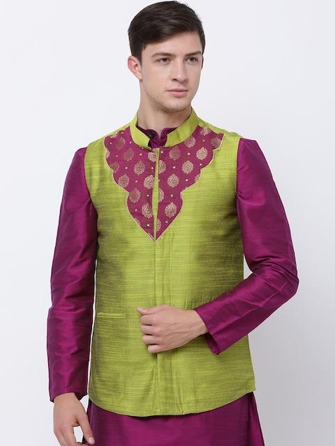 Svanik Green Woven Design Slim Fit Nehru Jacket