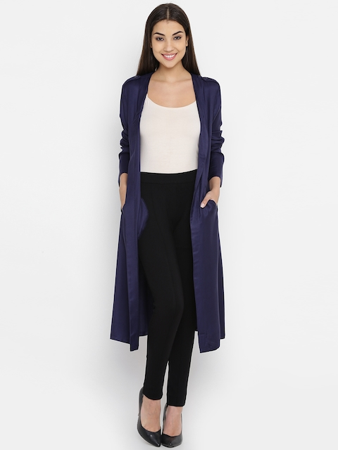 United Colors of Benetton Women Navy Solid Longline Open Front Jacket