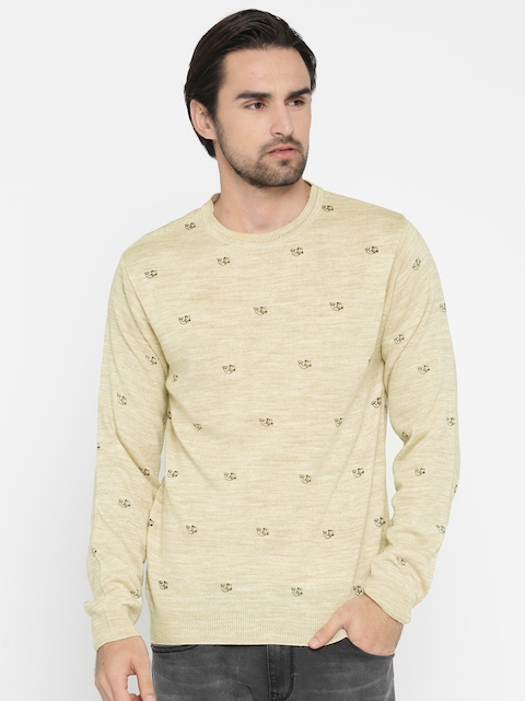 Peter England Casuals Men Beige Printed Pullover