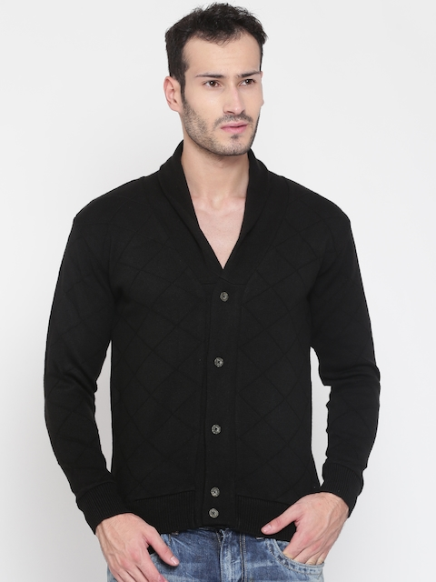 Peter England Casuals Men Black Self-Design Cardigan