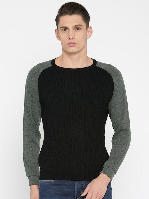 Peter England Casuals Men Black Self Design Pullover