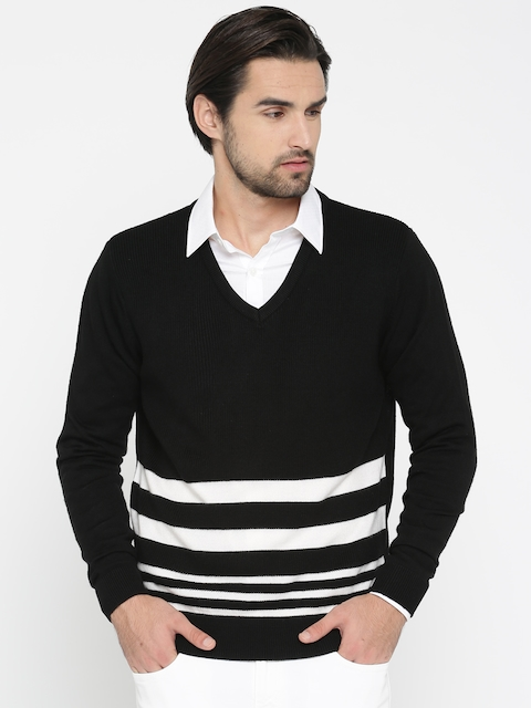 Peter England Casuals Men Black & White Striped Pullover