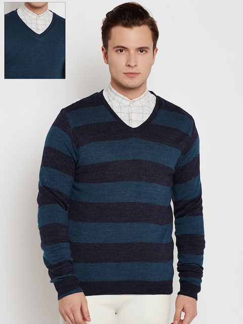 Peter England Casuals Men Blue Striped Reversible Sweater