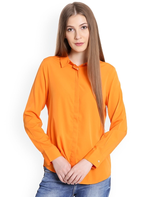 United Colors of Benetton Women Orange Regular Fit Solid Casual Shirt