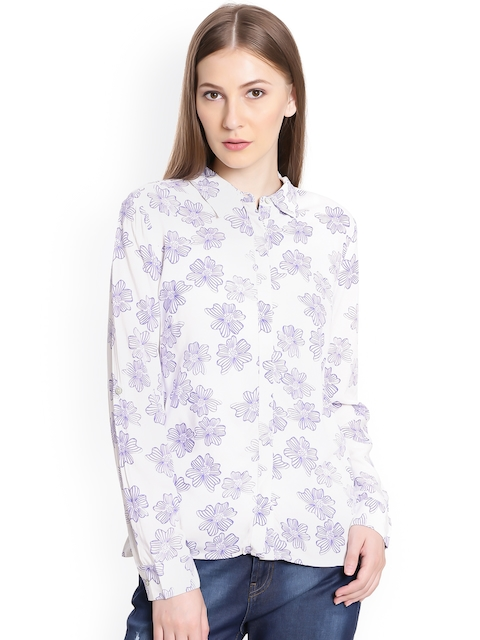 United Colors of Benetton Women Blue & White Regular Fit Floral Print Casual Shirt