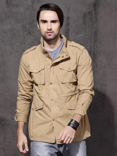 Roadster Men Khaki Solid Tailored Jacket