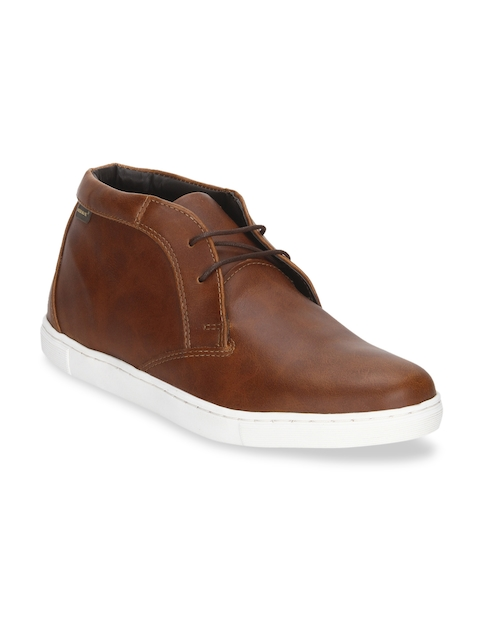 Red Tape Men Brown Solid Synthetic Mid-Top Flat Boots