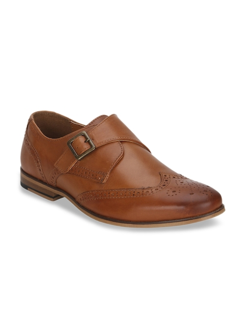 Red Tape Men Tan Brown Leather Monks