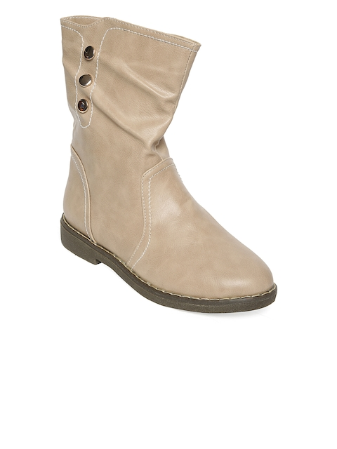 Flat n Heels Women Beige Solid Synthetic High-Top Flat Boots