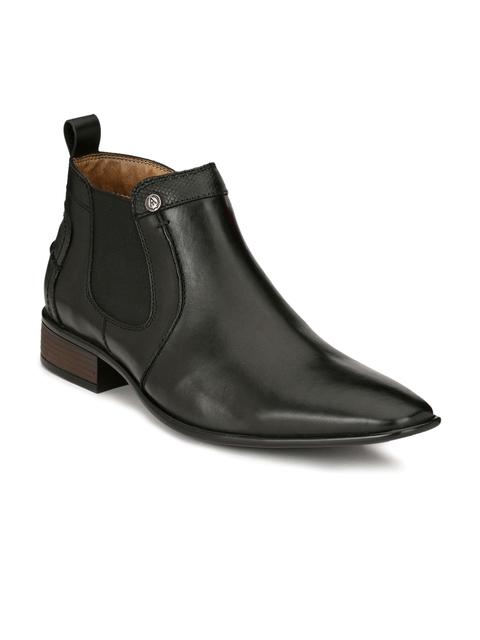 Alberto Torresi Men Black Solid Leather Mid-Top Flat Boots