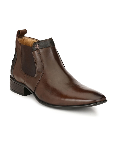 Alberto Torresi Men Coffee Brown Solid Leather Mid-Top Flat Boots