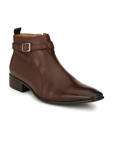 Alberto Torresi Men Coffee Brown Solid Leather High-Top Flat Boots