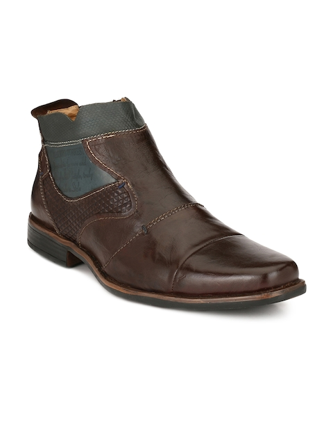 Alberto Torresi Men Brown Solid Leather Mid-Top Flat Boots