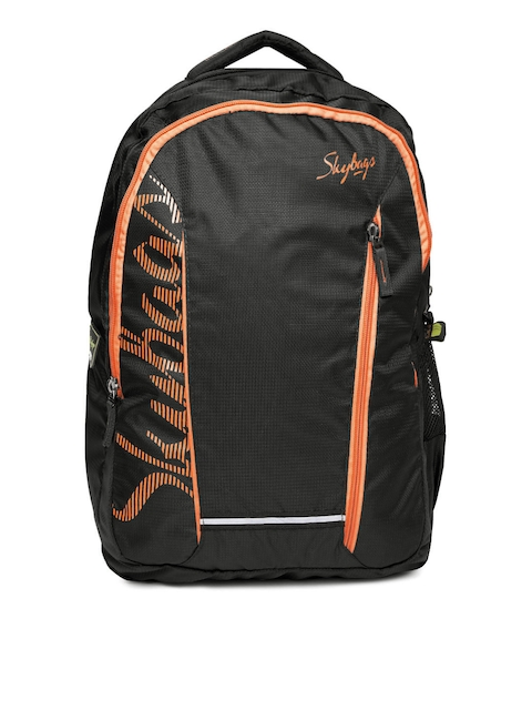 Skybags Unisex Black Brand Logo Print Backpack