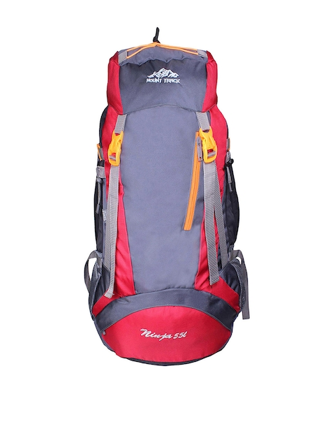 MOUNT TRACK Ninja Unisex Red & Grey Rucksack with Rain Cover