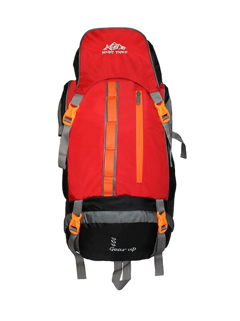 MOUNT TRACK Gear Up Unisex Red & Grey Rucksack with Rain Cover