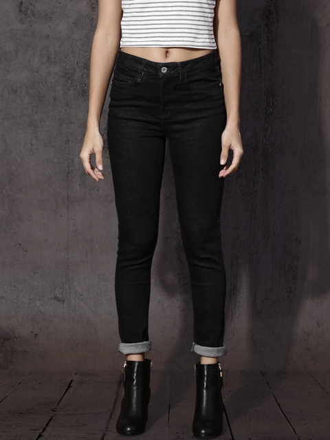 Roadster Women Black Regular Fit Mid-Rise Clean Look Stretchable Jeans