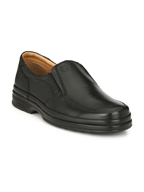 Alberto Torresi Men Black Leather Semiformal Slip-Ons