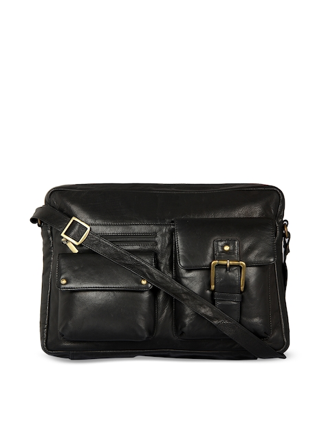 Leather Zentrum Black Leather Laptop Bag