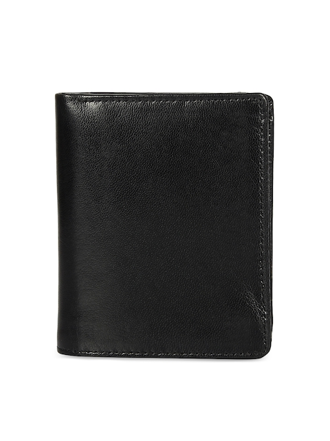Leather Zentrum Men Black Solid Leather Two Fold Wallet