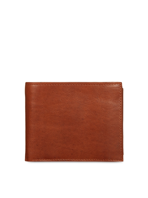 Leather Zentrum Men Tan Solid Two Fold Wallet